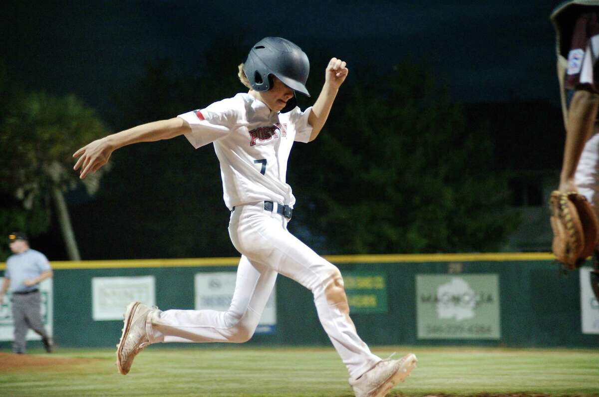 Post Oak Little League's Conrad Bennett crosses home plate to score a run against Pearland East All Stars during the section 3 championship game Saturday in Pearland.