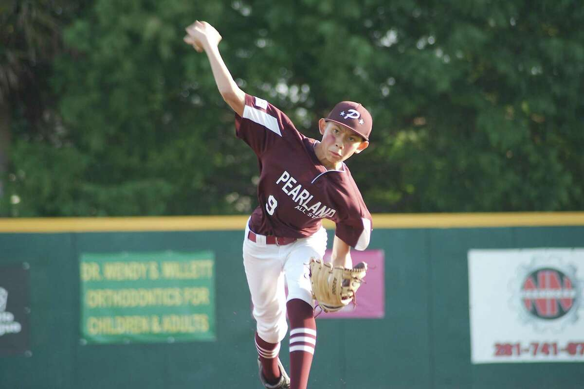 Pearland East All Stars' Oscar Medina pitches to Post Oak Little League during the section 3 championship game Saturday in Pearland.