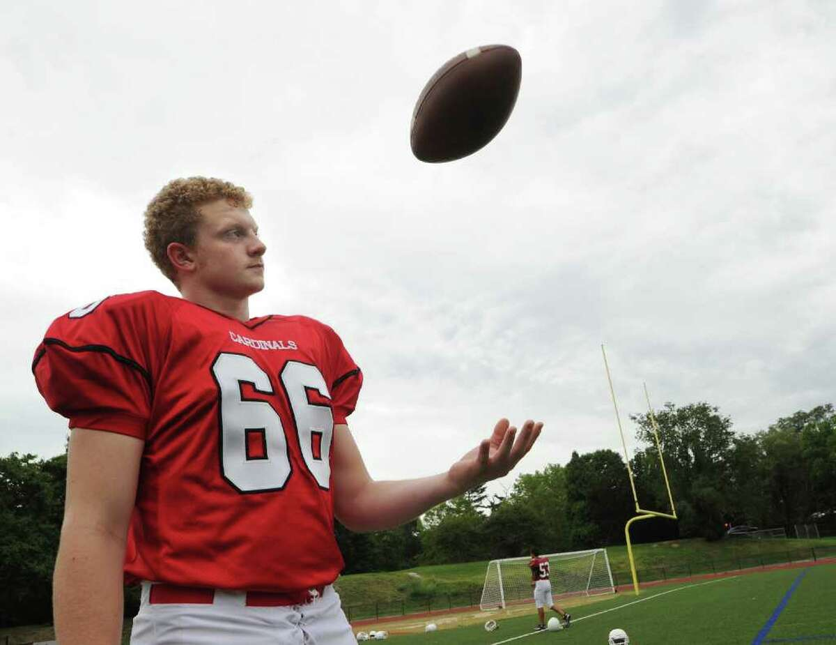 Greenwich High School football defensive lineman Bobby Wolterstorff during photo shoot day for the 2010 Greenwich High School Football team, at Cardinal Stadium, Friday, Sept. 3, 2010.