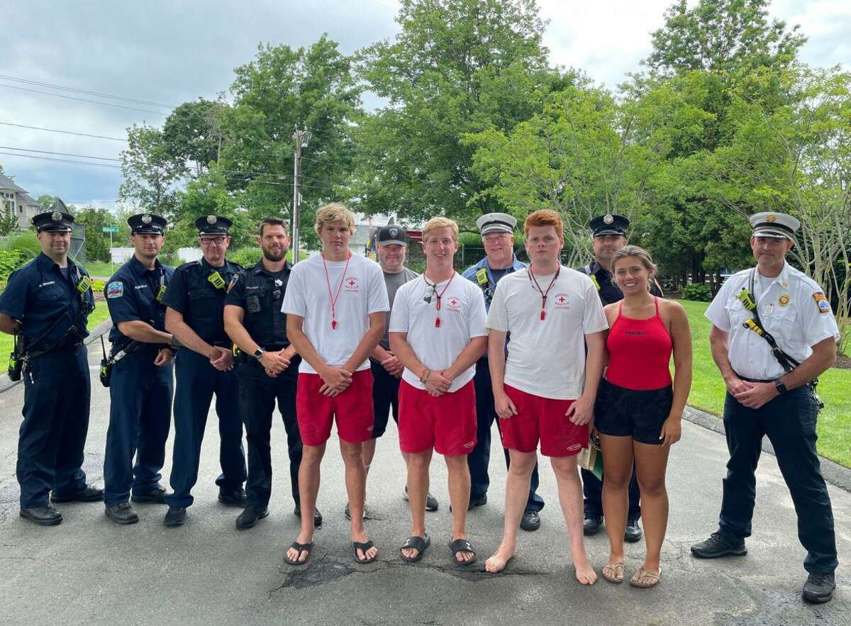 Teen lifeguards Kinga Srednicka, Nicholas Radman, Henry Sokolowski and Christian Carson are recognized by Stamford Police, Fire Department for actively trying to safe a drowning man's life.