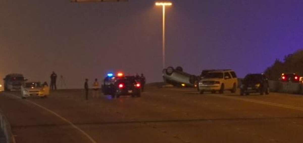 A Mercedes hit two cars causing it to roll over a concrete medium on I45 South near a Humble exit, according to the Harris County Sheriff's office.