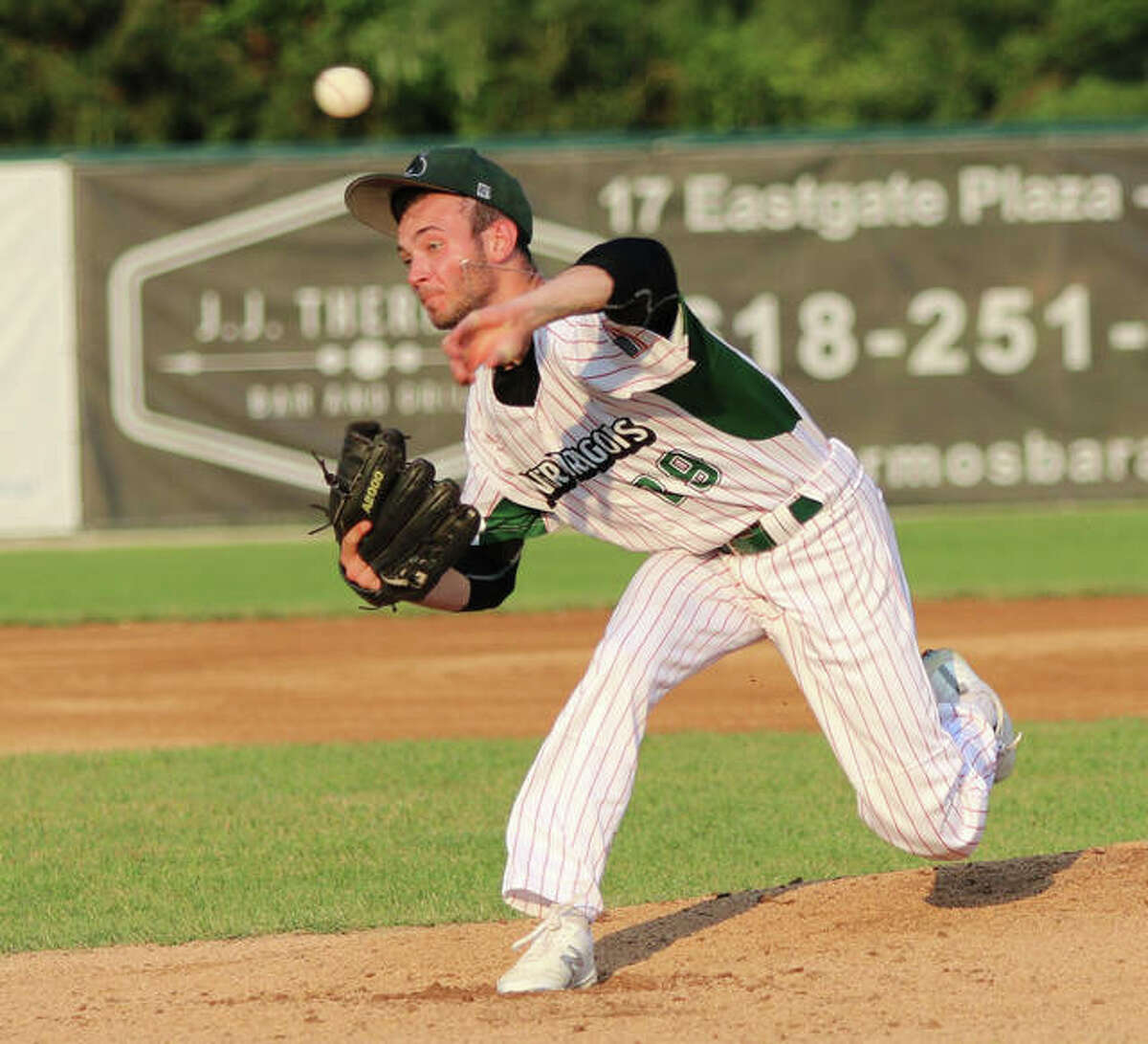 River Dragons pitcher Alex Redman, shown in a July 4 start at Hopkins Field in Alton, picked up the win over the Clinton LumberKings on Saturday night in Clinton, Iowa.