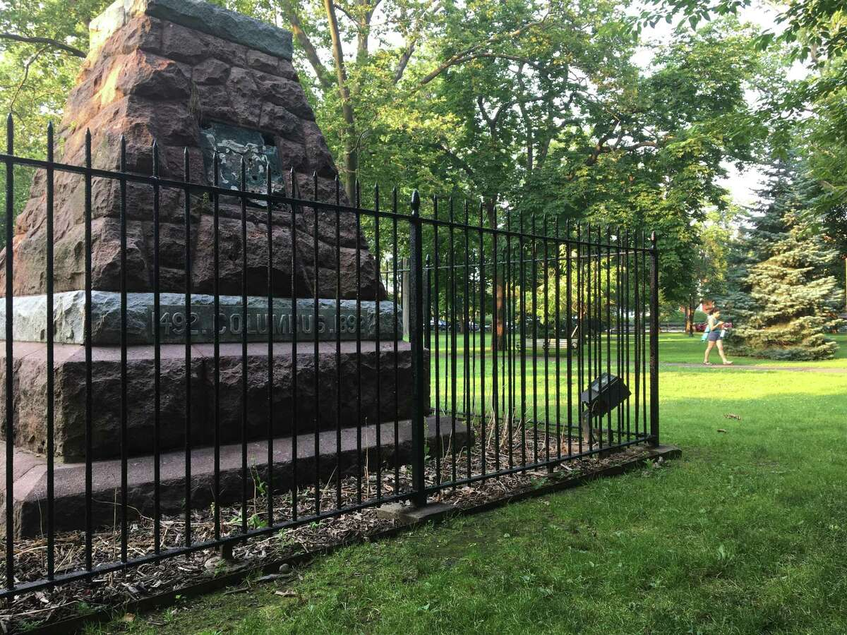 The Wooster Square monument, photographed on Wednesday, July 7, 2021, has been a stone base without a statue atop it since the Christopher Columbus statue came down on June 24, 2020. A selection subcommittee will hear proposals from six artists on Wednesday, July 14, 2021 and Thursday, July 15, 2021.