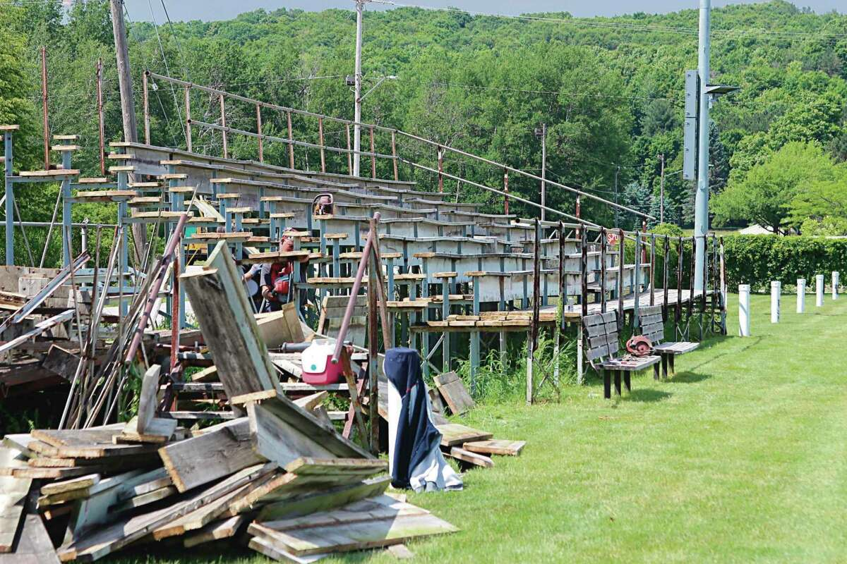In 2020, the old home bleachers were torn down at Lockhart Field in Frankfort ahead of the construction of new and improved bleachers.The Frankfort Music Festival will be held from 10 a.m. to 11 p.m. on July 17 at Lockhart Field in Frankfort as a fundraiser for more improvements. (File photo)
