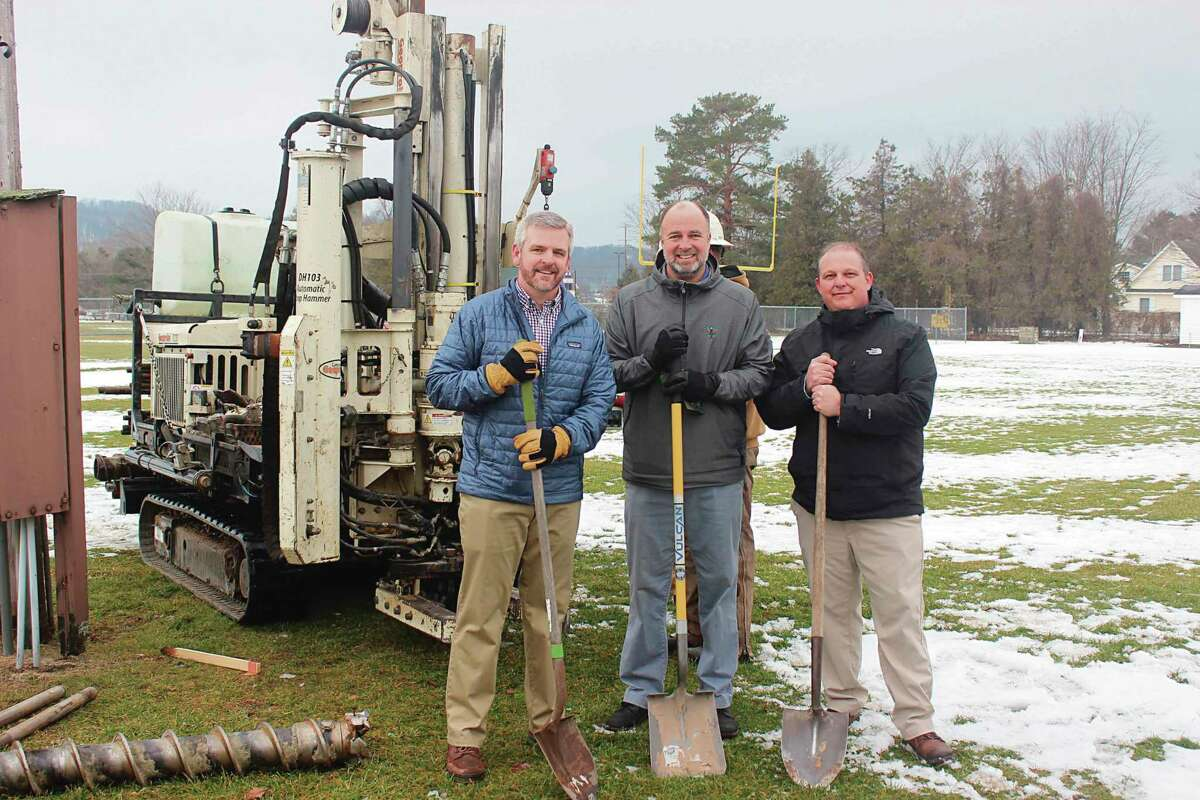 Frankfort-Elberta Athletic Association board members Andrew Johnson, Steve Hammon and Josh Mills break ground on new light towers at Lockhart Field in 2019.The Frankfort Music Festival will be held on July 17 at Lockhart Field in Frankfort as a fundraiser for more improvements. (File photo)