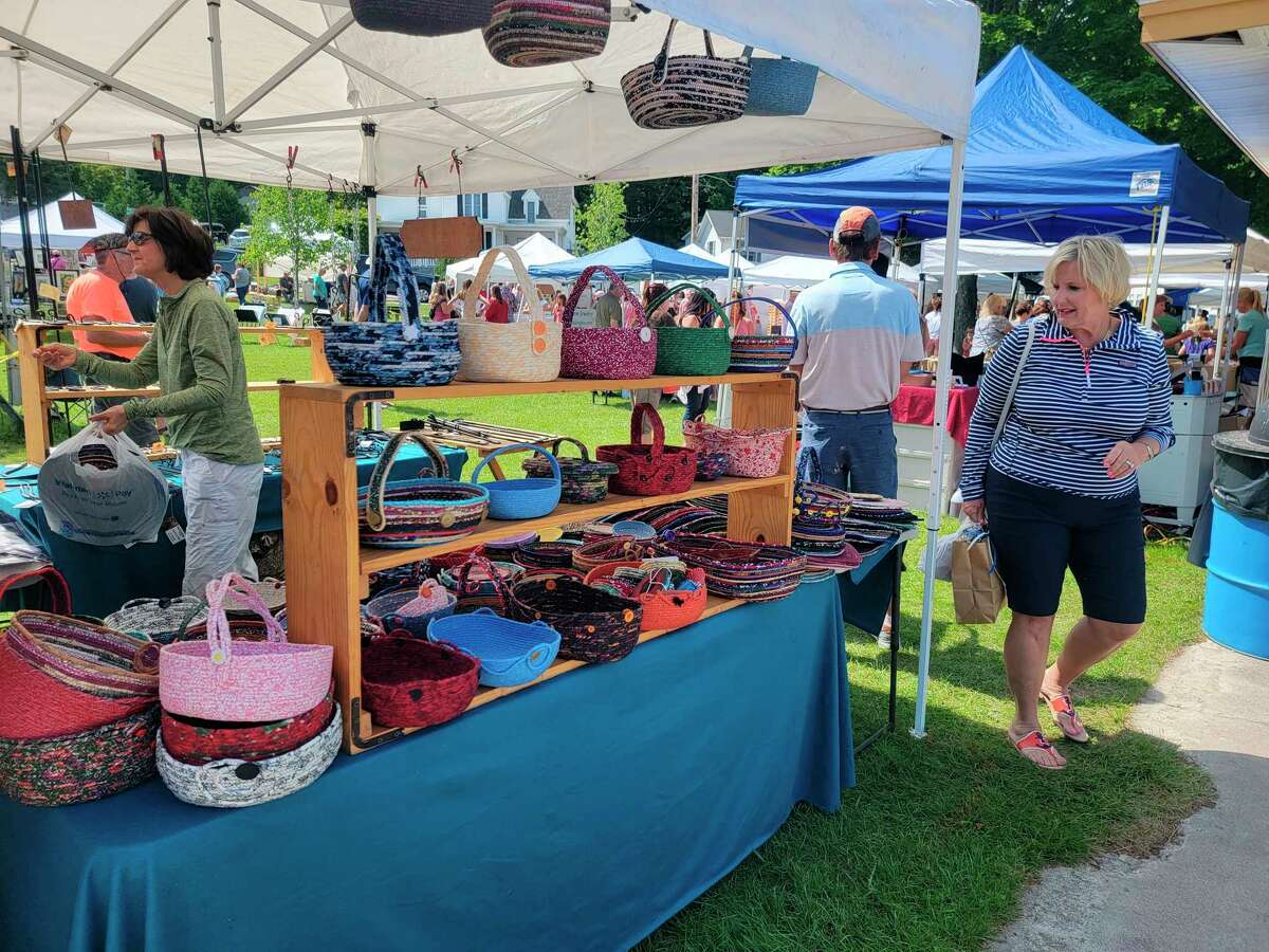 Colorful handmade baskets were one of the many items available at the Beulah Art Fairon Saturday. (Colin Merry/Record Patriot)