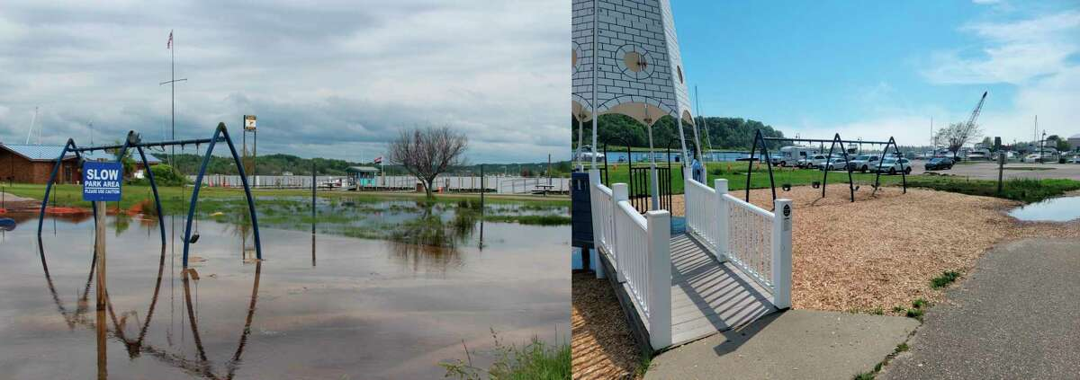 The City of Frankfort has made progress in reclaiming a flooded playground in Mineral Springs Park. The photo on the leftwas taken in June 2020, and the right photowas taken in June 2021. (Colin Merry/Record Patriot)