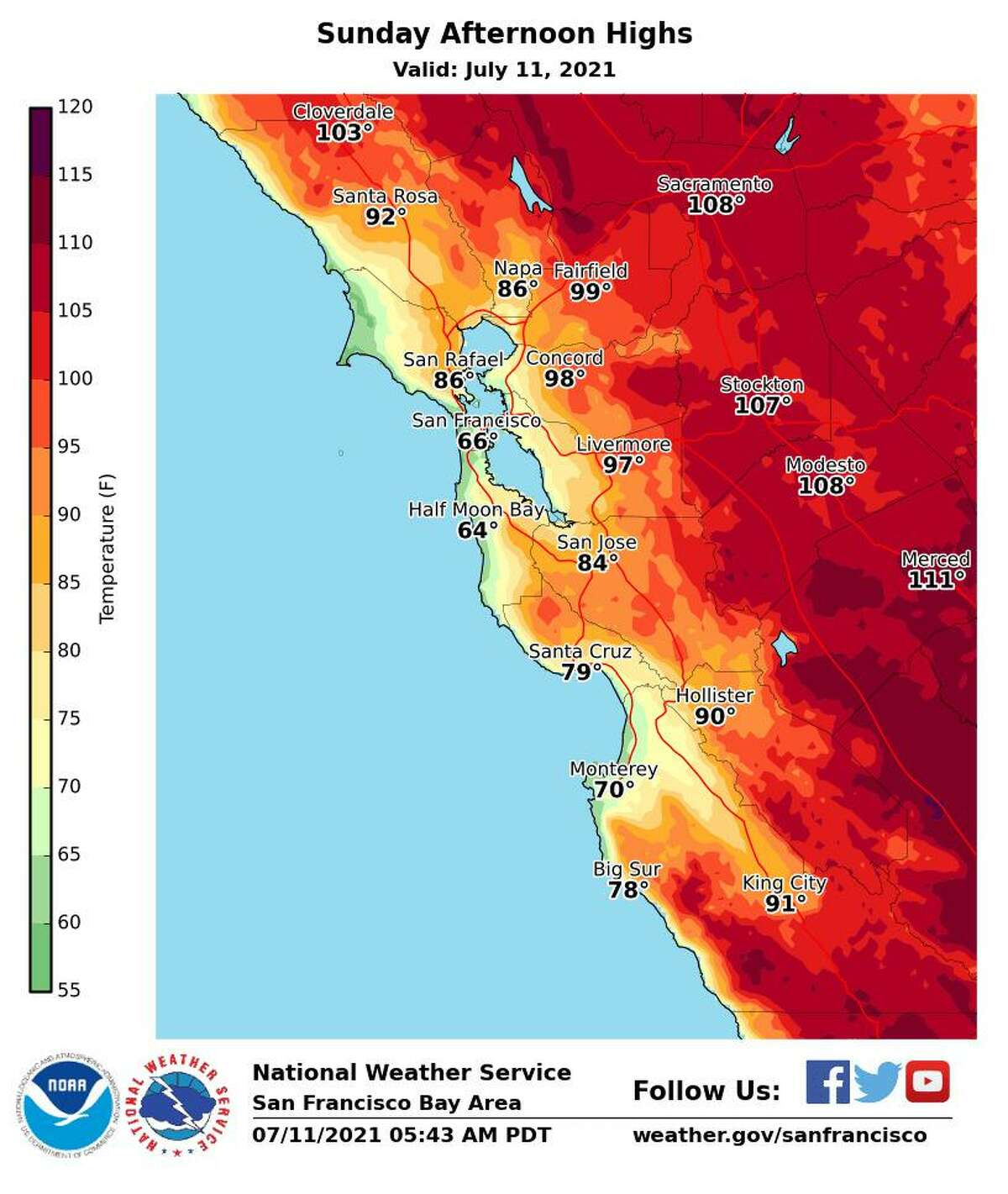 An excessive heat warning for parts of the Bay Area will remain in effect until 11 p.m. on Sunday.