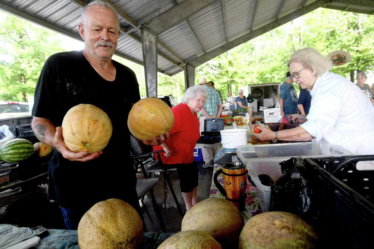 during the Beaumont Farmer's Market Saturday. Photo made Saturday, July 10, 2021 Kim Brent/The Enterprise