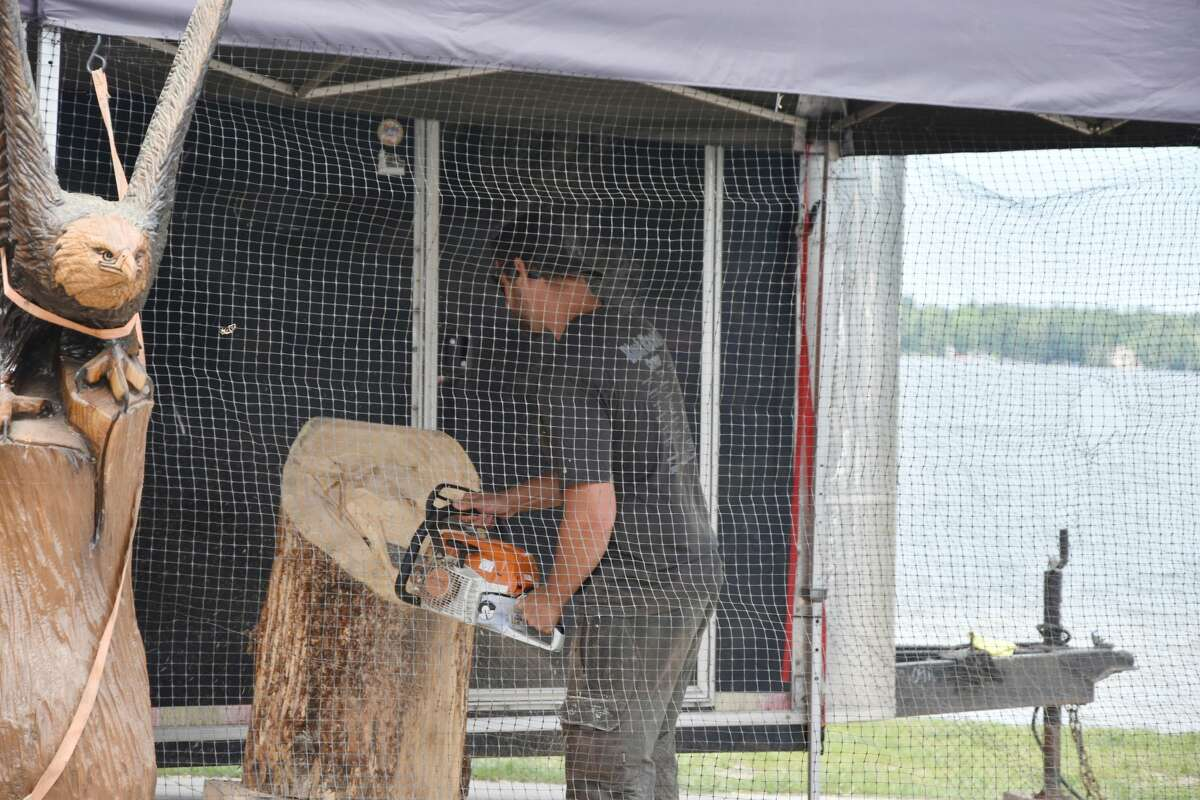 Bear Lake Days visitors had the chance to watch Brandon Adam, of Adams Chainsaw Art & Sawmill, carving up wooden pieces in honor of Bear Lake Days on Saturday.