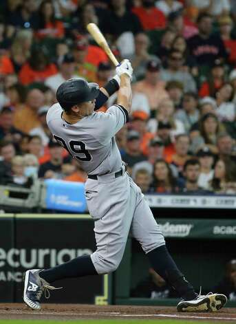 New York Yankees right fielder Aaron Judge (99) swings during the first inning of the MLB game against the Houston Astros Sunday, July 11, 2021, from Minute Maid Park in Houston. Photo: Yi-Chin Lee, Staff Photographer / © 2021 Houston Chronicle
