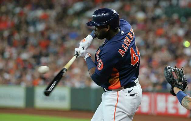 Houston Astros designated hitter Yordan Alvarez (44) swings during the first inning of the MLB game against the New York Yankees Sunday, July 11, 2021, from Minute Maid Park in Houston. Photo: Yi-Chin Lee, Staff Photographer / © 2021 Houston Chronicle