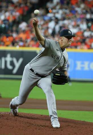 New York Yankees starting pitcher Jameson Taillon (50) pitches during the first inning of the MLB game against the Houston Astros Sunday, July 11, 2021, from Minute Maid Park in Houston. Photo: Yi-Chin Lee, Staff Photographer / © 2021 Houston Chronicle