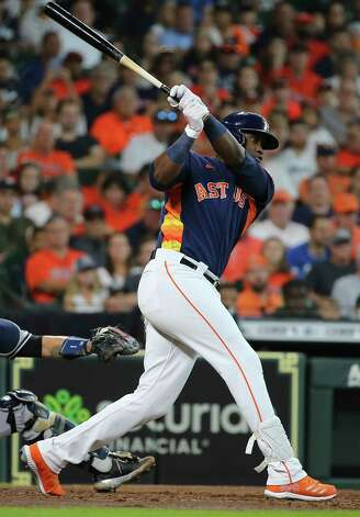 Houston Astros designated hitter Yordan Alvarez (44) swings during the bottom third inning of the MLB game against the New York Yankees Sunday, July 11, 2021, from Minute Maid Park in Houston. Photo: Yi-Chin Lee, Staff Photographer / © 2021 Houston Chronicle