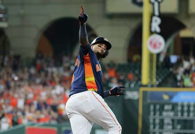 Houston Astros catcher Martin Maldonado (15) celebrates his single home run during the bottom third inning of the MLB game against the New York Yankees Sunday, July 11, 2021, from Minute Maid Park in Houston. Photo: Yi-Chin Lee, Staff Photographer / © 2021 Houston Chronicle
