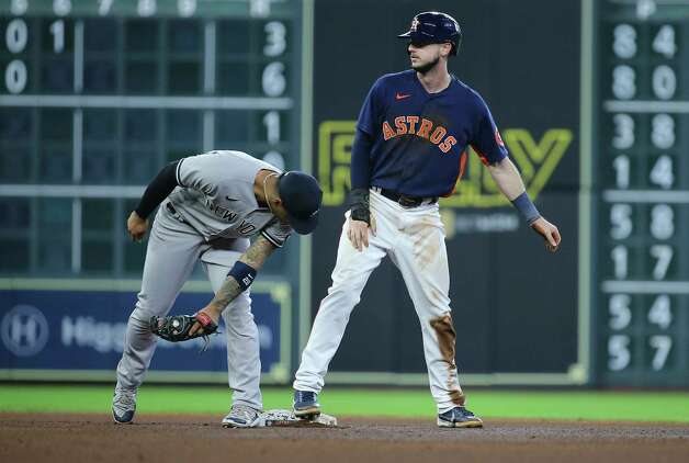 Houston Astros left fielder Kyle Tucker (30) steals onto second base during the bottom fourth inning of the MLB game against the New York Yankees Sunday, July 11, 2021, from Minute Maid Park in Houston. Photo: Yi-Chin Lee, Staff Photographer / © 2021 Houston Chronicle