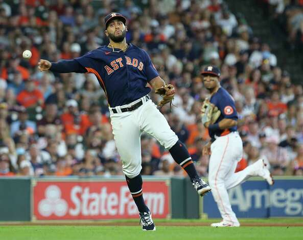 Houston Astros third baseman Abraham Toro (13) throws to first base during the top fourth inning of the MLB game against the New York Yankees Sunday, July 11, 2021, from Minute Maid Park in Houston. Photo: Yi-Chin Lee, Staff Photographer / © 2021 Houston Chronicle