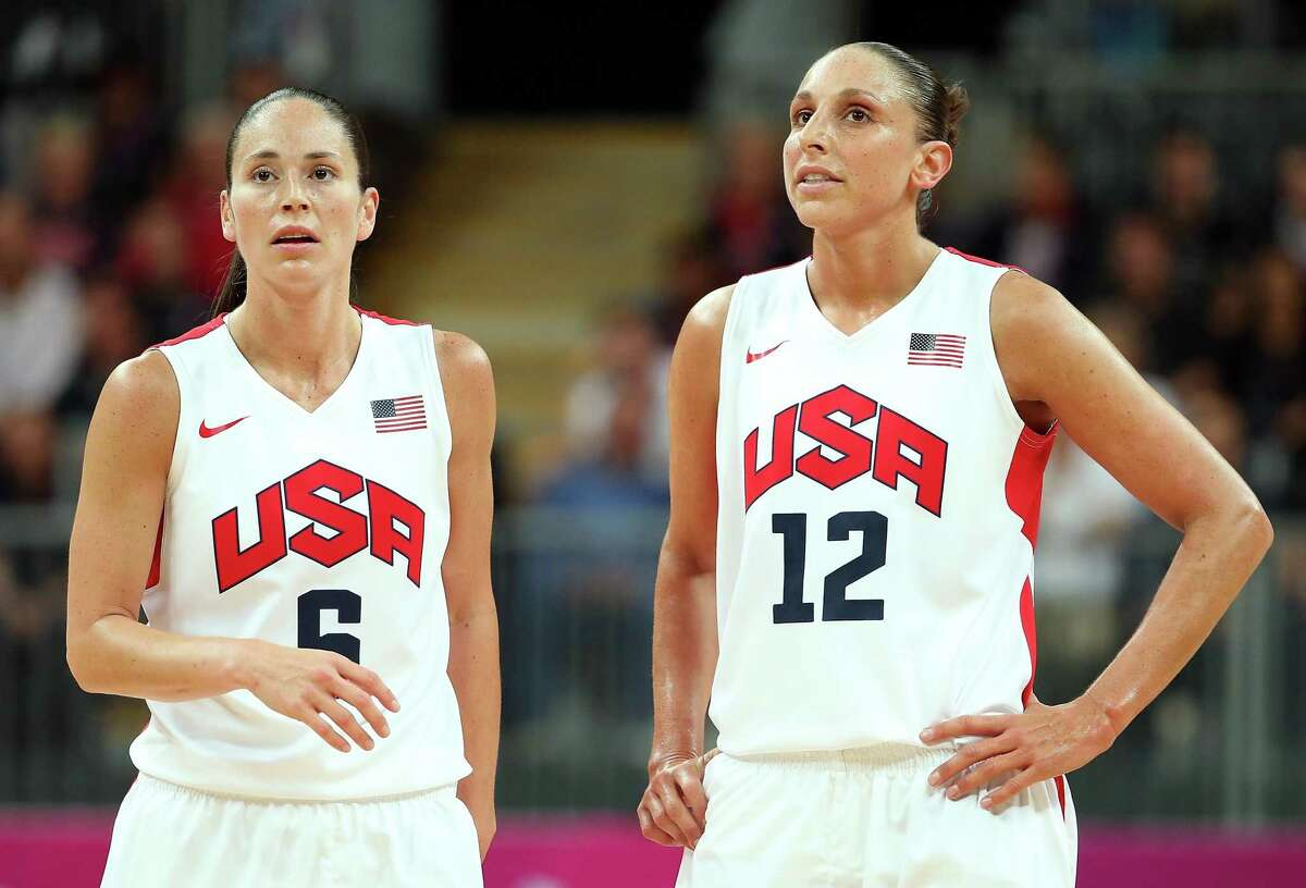 LONDON, ENGLAND - AUGUST 07: (L-R) Sue Bird #6 and Diana Taurasi #12 of United States wait fpr a free throw during the Women's Basketball quaterfinal against Canada on Day 11 of the London 2012 Olympic Games at the Basketball Arena on August 7, 2012 in London, England. (Photo by Christian Petersen/Getty Images)