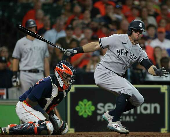 New York Yankees left fielder Brett Gardner (11) is struck out swinging by Houston Astros relief pitcher Andre Scrubb (70) during the top fifth inning of the MLB game Sunday, July 11, 2021, from Minute Maid Park in Houston. Photo: Yi-Chin Lee, Staff Photographer / © 2021 Houston Chronicle