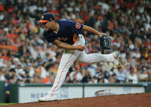 Houston Astros relief pitcher Andre Scrubb (70) pitches during the top fifth inning of the MLB game against the New York Yankees Sunday, July 11, 2021, from Minute Maid Park in Houston. Photo: Yi-Chin Lee, Staff Photographer / © 2021 Houston Chronicle