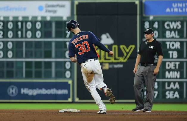 Houston Astros left fielder Kyle Tucker (30) hits a solo home run on New York Yankees starting pitcher Jameson Taillon (50) during the bottom sixth inning of the MLB game Sunday, July 11, 2021, from Minute Maid Park in Houston. Photo: Yi-Chin Lee, Staff Photographer / © 2021 Houston Chronicle