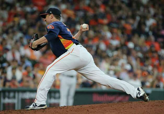 Houston Astros pitching coach Joshua Miller (36) pitches during the top sixth inning of the MLB game against the New York Yankees Sunday, July 11, 2021, from Minute Maid Park in Houston. Photo: Yi-Chin Lee, Staff Photographer / © 2021 Houston Chronicle