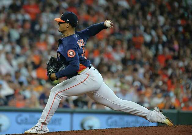 Houston Astros starting pitcher Bryan Abreu (66) pitches during the top seventh inning of the MLB game against the New York Yankees Sunday, July 11, 2021, from Minute Maid Park in Houston. Photo: Yi-Chin Lee, Staff Photographer / © 2021 Houston Chronicle