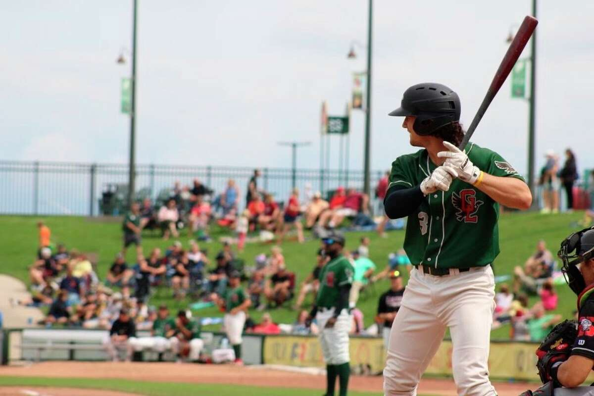 Loons center fielder James Outman bats against Lansing on July 11 at Dow Diamond. (Photo by Austin Chastain/Midland Daily News)
