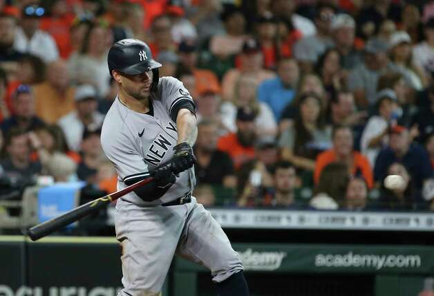New York Yankees catcher Gary Sanchez (24) hits a three-run home run from Houston Astros starting pitcher Blake Taylor (62) during the top eighth inning of the MLB game Sunday, July 11, 2021, from Minute Maid Park in Houston. Photo: Yi-Chin Lee, Staff Photographer / © 2021 Houston Chronicle