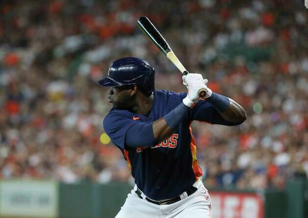 Houston Astros designated hitter Yordan Alvarez (44) is at bat during the first inning of the MLB game against the New York Yankees Sunday, July 11, 2021, from Minute Maid Park in Houston. Photo: Yi-Chin Lee, Staff Photographer / © 2021 Houston Chronicle
