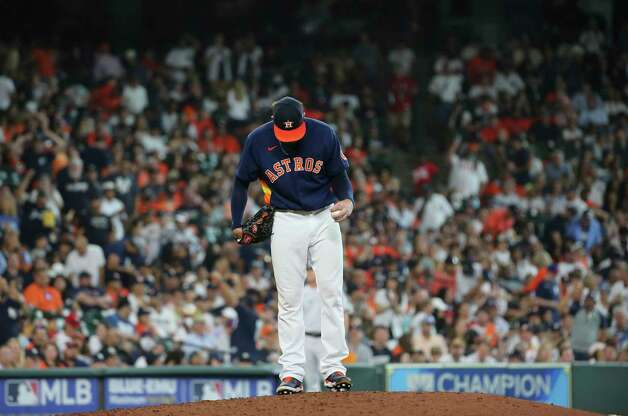Houston Astros starting pitcher Blake Taylor (62) is photographed on the mound after giving up a three-run home run to New York Yankees catcher Gary Sanchez (24)  during the top eighth inning of the MLB game Sunday, July 11, 2021, from Minute Maid Park in Houston. Photo: Yi-Chin Lee, Staff Photographer / © 2021 Houston Chronicle