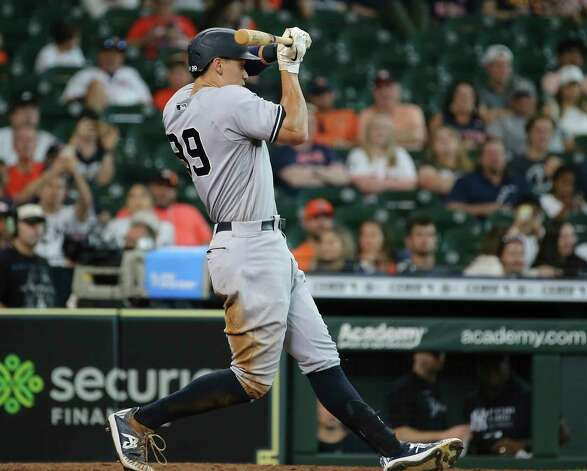 New York Yankees right fielder Aaron Judge (99) tries to stop himself from swinging the bat during the top ninth inning of the MLB game against the Houston Astros Sunday, July 11, 2021, from Minute Maid Park in Houston. Photo: Yi-Chin Lee, Staff Photographer / © 2021 Houston Chronicle