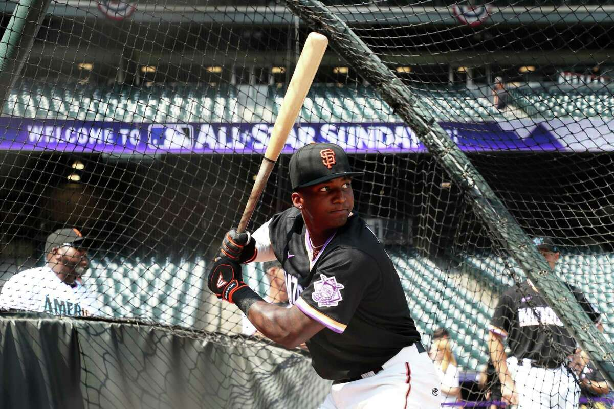 DENVER, CO - JULY 11: Marco Luciano #10 of the National League Team takes batting practice before the 2021 Sirius XM Futures Game at Coors Field on Sunday, July 11, 2021 in Denver, Colorado. (Photo by Rob Tringali/MLB Photos via Getty Images)