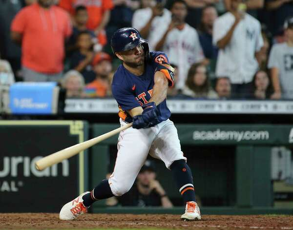 Houston Astros second baseman Jose Altuve hit a walk off three-run home run and the Astros defeated New York Yankees 8-7 in a MLB game Sunday, July 11, 2021, from Minute Maid Park in Houston. Photo: Yi-Chin Lee, Staff Photographer / © 2021 Houston Chronicle