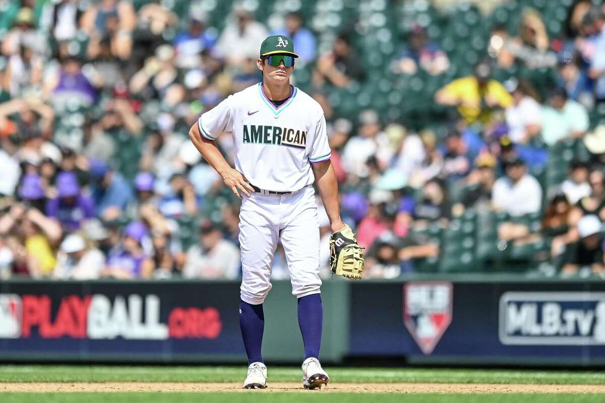 DENVER, CO - JULY 11: Tyler Soderstrom #28 of American League Futures Team stands at first base against the National League Futures Team at Coors Field on July 11, 2021 in Denver, Colorado. (Photo by Dustin Bradford/Getty Images)