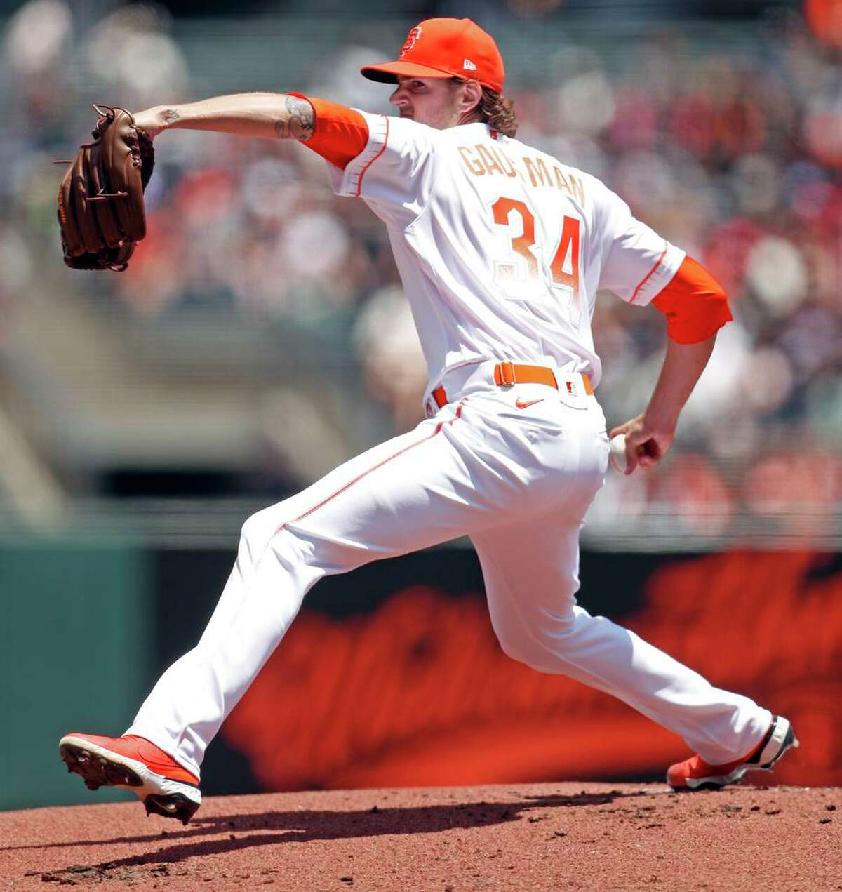 San Francisco Giants' Kevin Gausman pitches in 1st inning against Washington Nationals during MLB game at Oracle Park in San Francisco, Calif., on Sunday, July 11, 2021.
