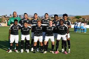 Oakland Roots SC starting XI before the game against Las Vegas Lights FC at Las Positas College Field in Livermore, CA on July 10, 2021.