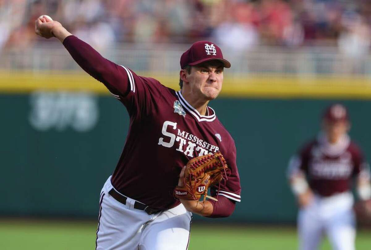 Mississippi State pitcher Will Bednar (24) throws during the first inning in Game 3 of the NCAA College World Series baseball finals, Wednesday, June 30, 2021, in Omaha, Neb. (AP Photo/Rebecca S. Gratz)
