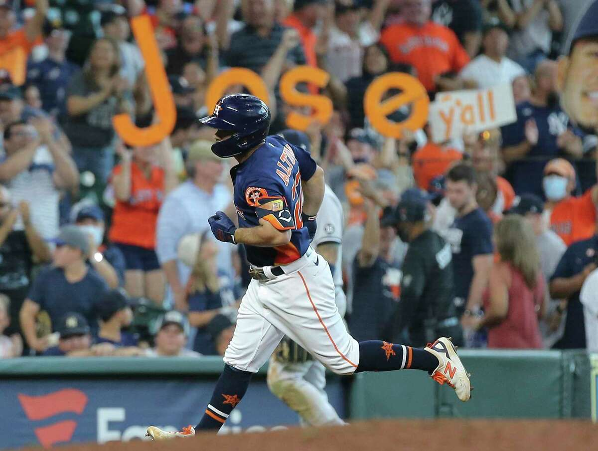 Jose Altuve left Astros fans in a state of delirium after capping a six-run ninth with a three-run homer to beat the Yankees 8-7 on Sunday at Minute Maid Park.