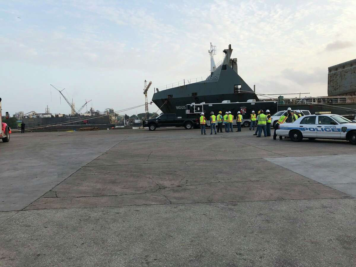Port of Houston Police and Fire departments and the Houston Police Department responded Sunday evening to a report of a car in the Ship Channel, according to a Tweet by Houston Police.