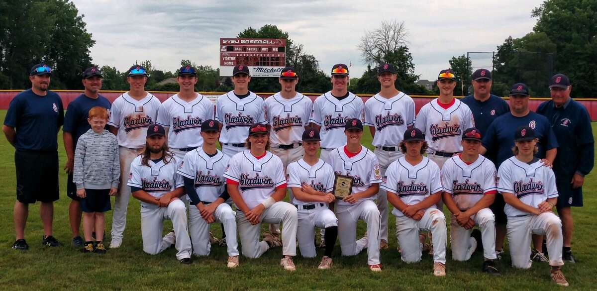 Members of Gladwin Post 171 which won the Ultimate Strike Zone tournament at SVSU on Sunday are (front, from left) AJ Shouey, Michael James, Colin Sackrider, Addison Vallad, Carson Oldani, Blaise Millar, Brendan DeFlorio, Micah Irrer; and (back, from left) assistant coaches Josh Higgins and Ryan Raymond, batboy Evan Franklin, Lucas Mead, Owen Franklin, Chase Raymond, Carter Campau, Trent Reed, Avery Goldensoph, Jarrett Inscho, assistant coaches Scott Brokoff and Jeff Sanak, and manager Terry Brokoff.