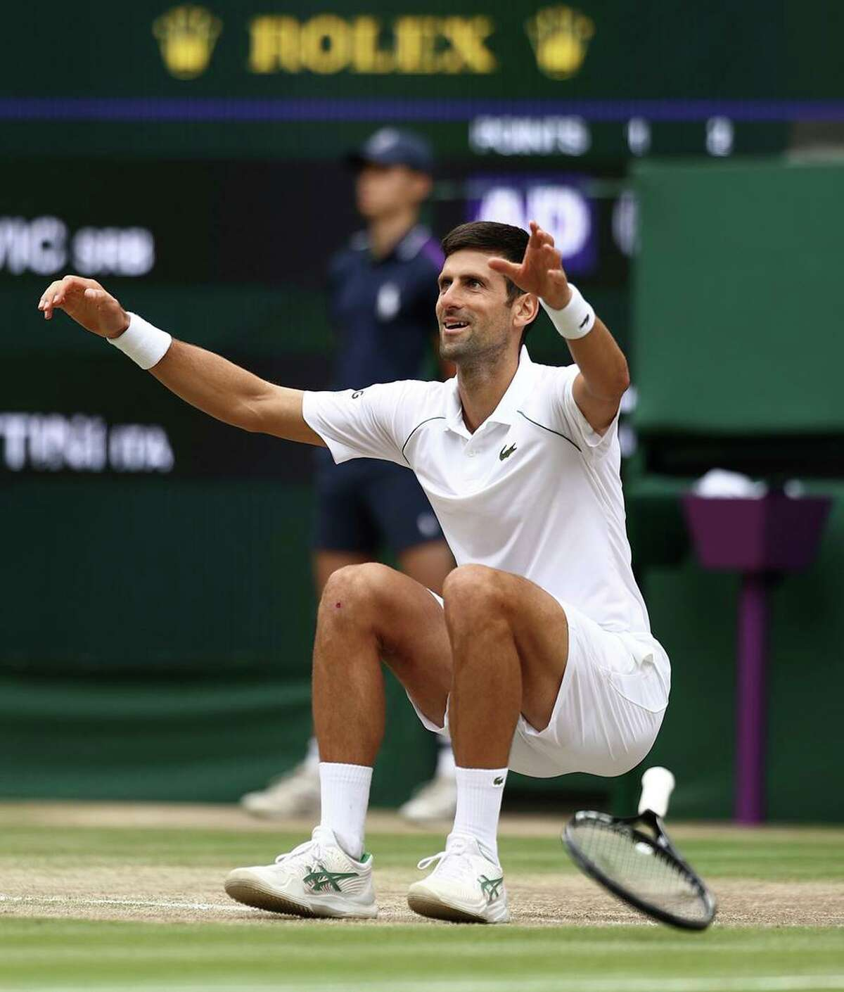 Novak Djokovic's win at Wimbledon is his 20th Grand Slam title, equal with Roger Federer and Rafael Nadal.
