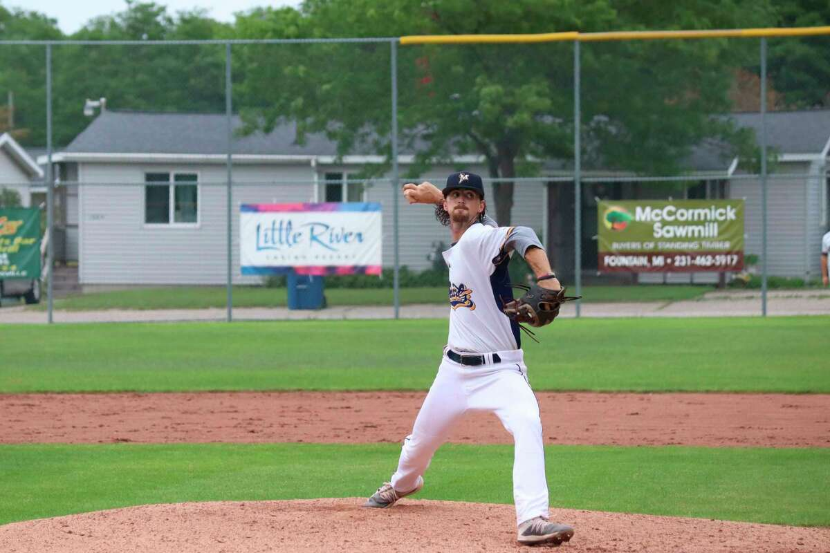 Roddy MacNeil pitches for the Saints during a home game earlier this summer. (Record Patriot file photo)