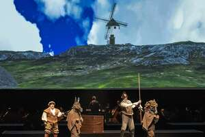 """Brian Yeakley as Sancho Panza, left, and Zachary James as Don Quiote in """"Man of La Mancha."""" (Gary Gold)"""