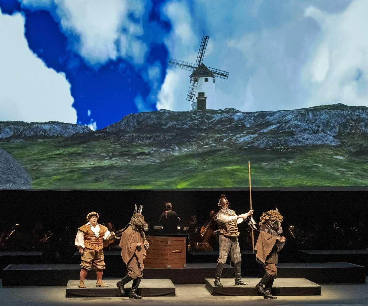 """Brian Yeakley as Sancho Panza, left, and Zachary James as Don Quixote in """"Man of La Mancha"""" at Opera Saratoga. (Gary Gold)"""