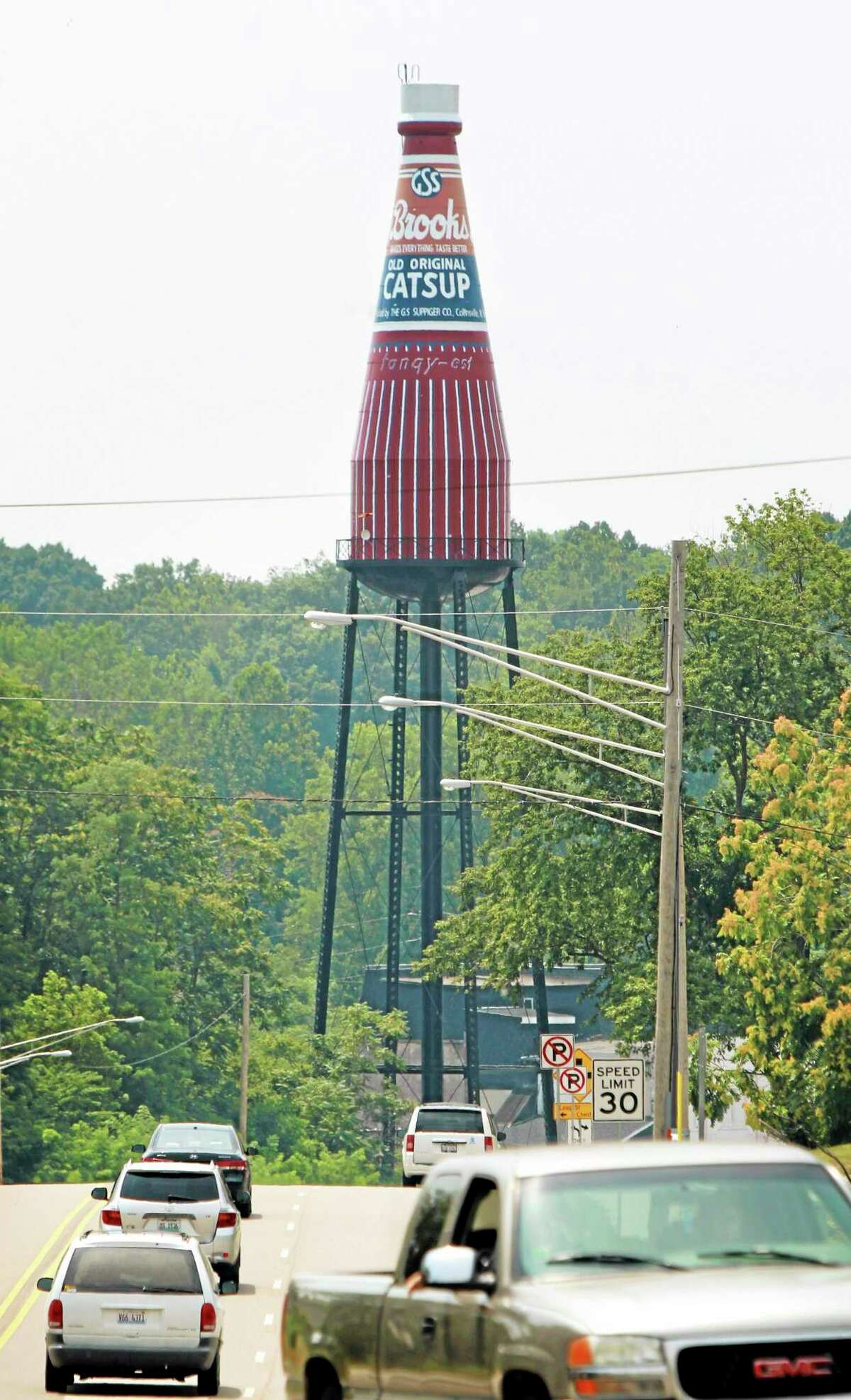The Brooks Catsup Bottle, the largest Catsup Bottle in the world, is just south of Collinsville, Illinois. Built for the bottlers of Brooks old catsup, the bottle was added to the National Registry of Historic Places in 2002 after being restored in 1995. The catsup bottle is also a water tower. (File, AP Photo/Belleville News-Democrat, Derik Holtmann)