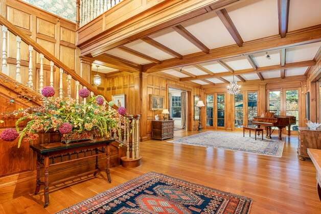 The main entry in the home on 49 Mountain Spring Roadshows off the home's Arts and Crafts Tudor style. Photo: Corrado Galizia