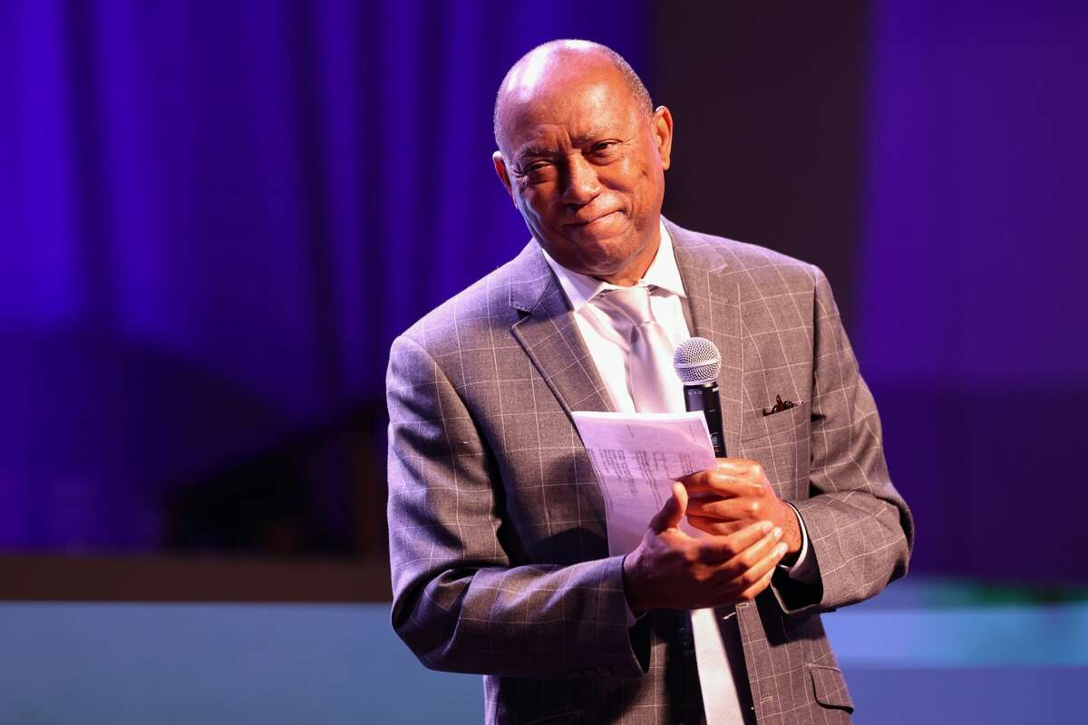 HOUSTON, TEXAS - MAY 30: Houston Mayor Sylvester Turner speaks during the George Floyd Commemorative Concert at The Fountain of Praise Church on May 30, 2021 in Houston, Texas. (Photo by Carmen Mandato/Getty Images)