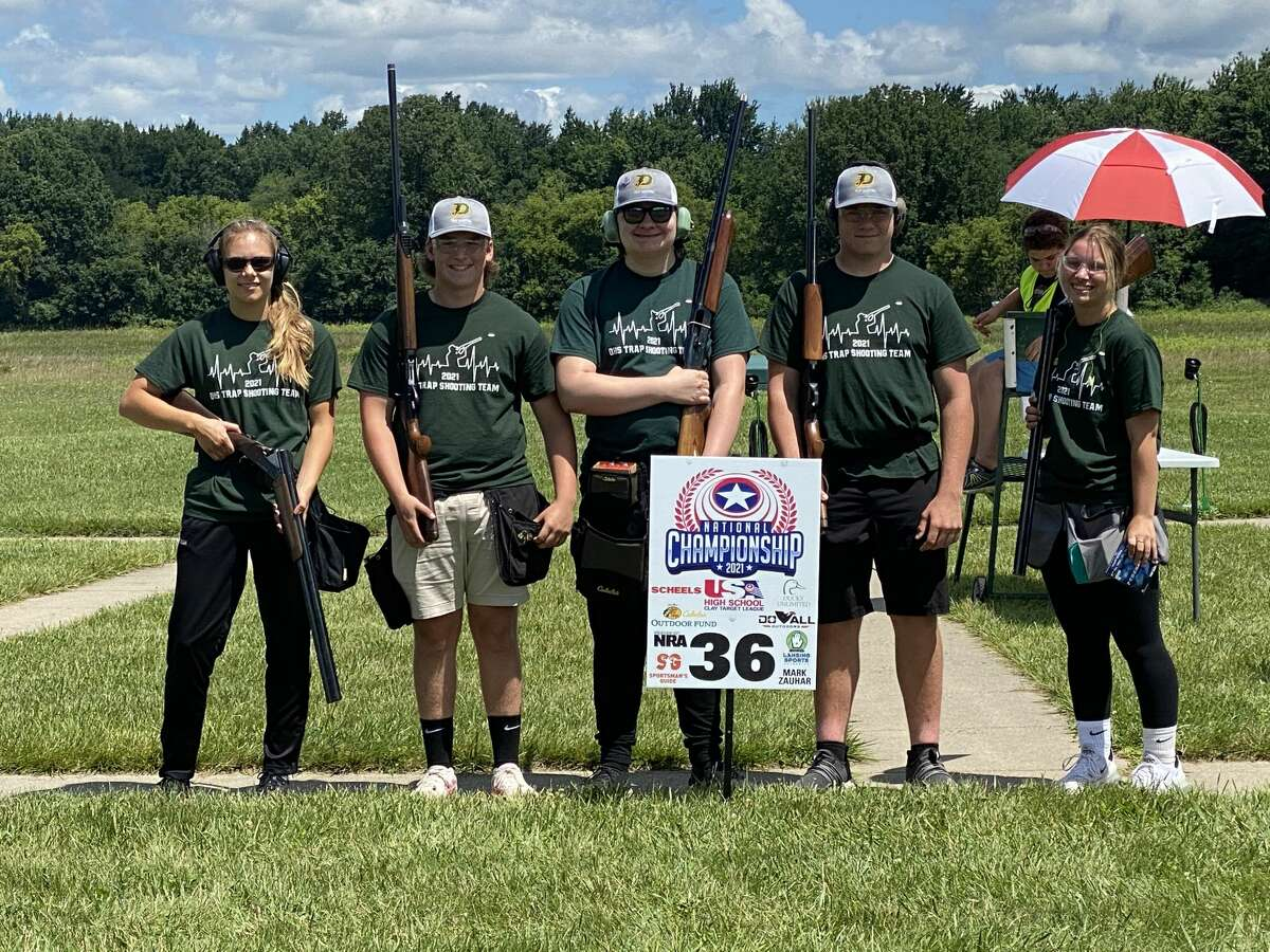 Members of the Dow High team which competed at the USA High School Clay Target League National Championship in Mason, Mich., recently are (from left) Kaylee Jackson, Cole Bailey, Greg Farnum, Jack Coppens, and Paige McRoberts.