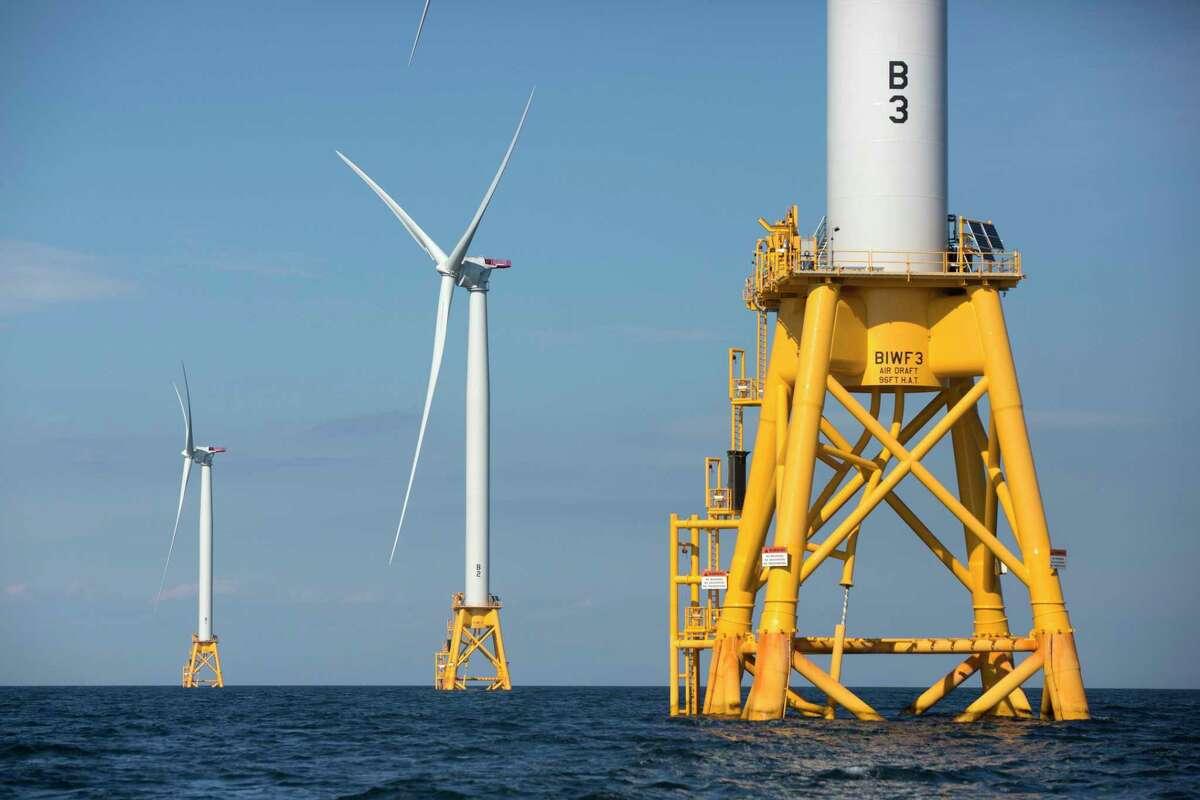 Wind turbines in the water off Block Island, R.I.